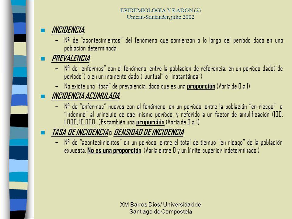 EPIDEMIOLOGIA Y RADON (2) Unican-Santander, julio 2002