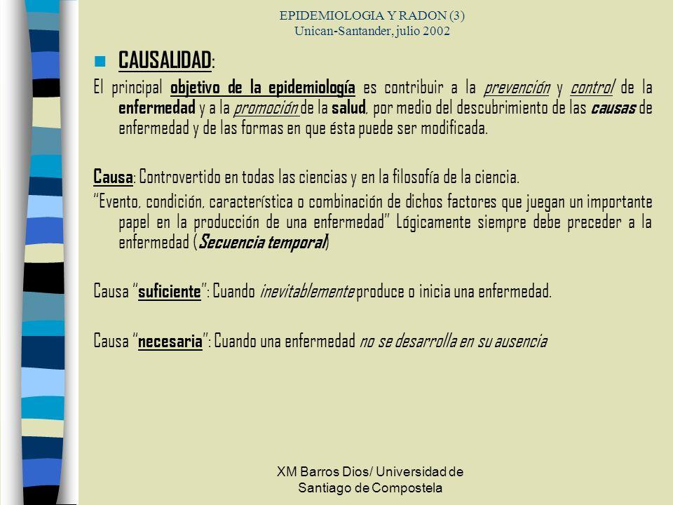 EPIDEMIOLOGIA Y RADON (3) Unican-Santander, julio 2002