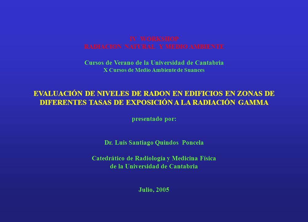 IV WORKSHOP RADIACION NATURAL Y MEDIO AMBIENTE. Cursos de Verano de la Universidad de Cantabria.