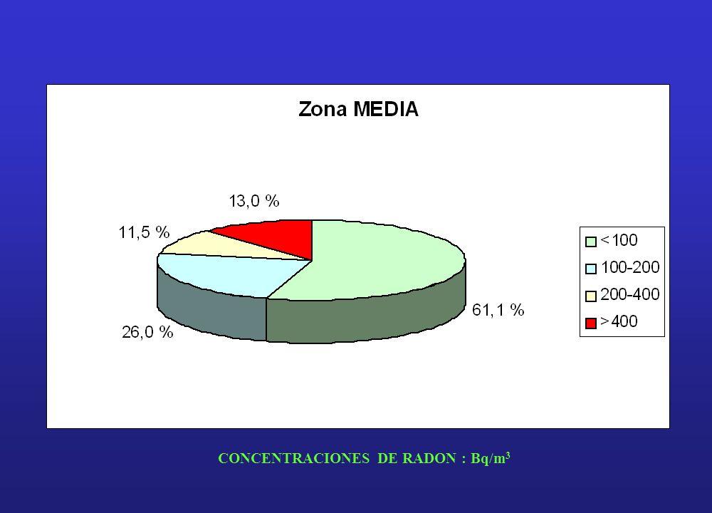 CONCENTRACIONES DE RADON : Bq/m3