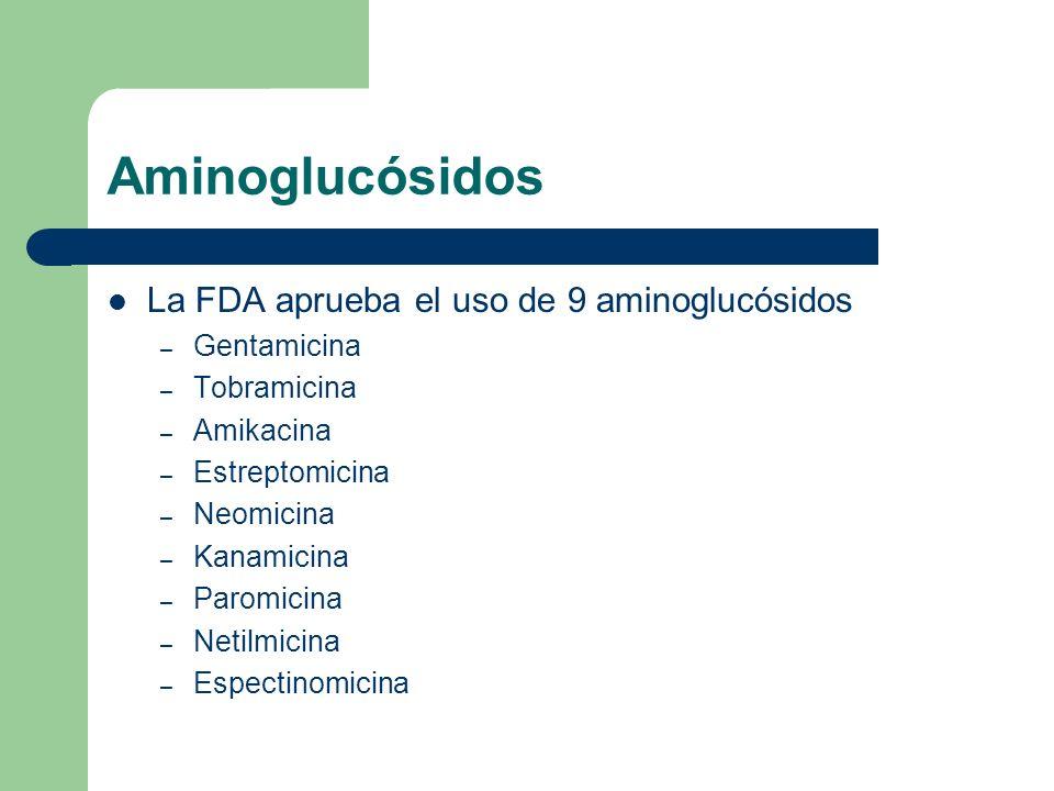 Aminoglucósidos La FDA aprueba el uso de 9 aminoglucósidos Gentamicina