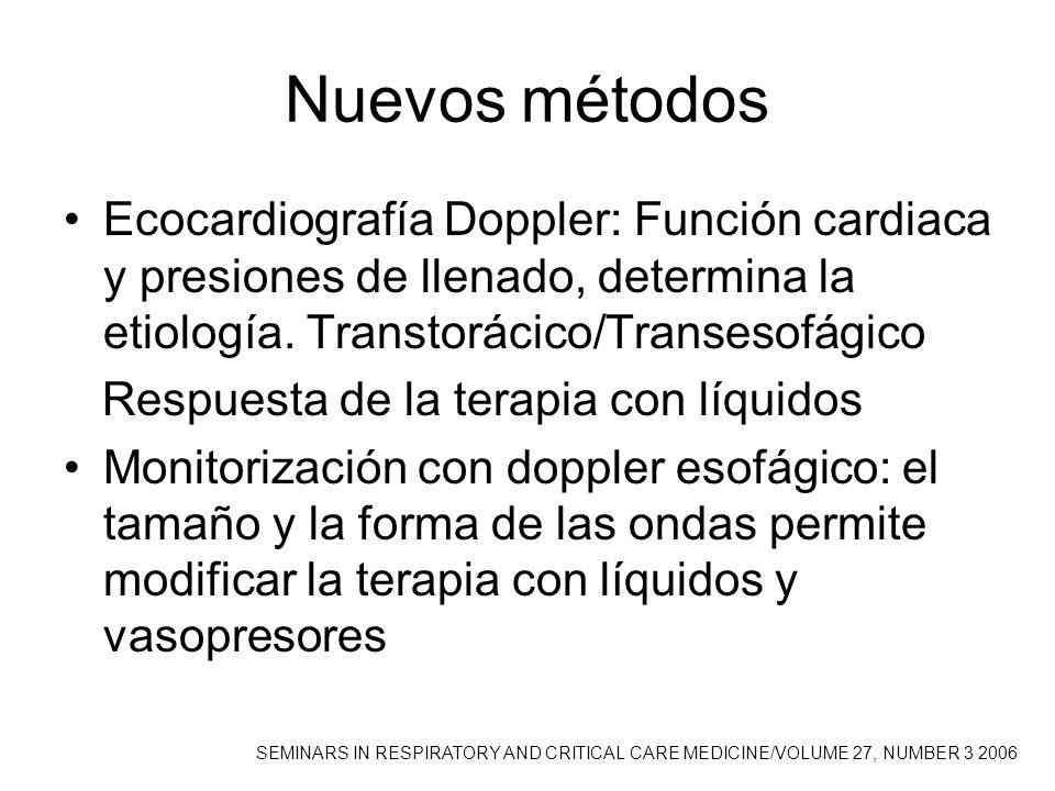 Nuevos métodos Ecocardiografía Doppler: Función cardiaca y presiones de llenado, determina la etiología. Transtorácico/Transesofágico.