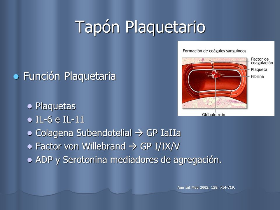 Tapón Plaquetario Función Plaquetaria Plaquetas IL-6 e IL-11