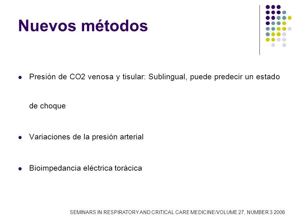 Nuevos métodos Presión de CO2 venosa y tisular: Sublingual, puede predecir un estado de choque. Variaciones de la presión arterial.