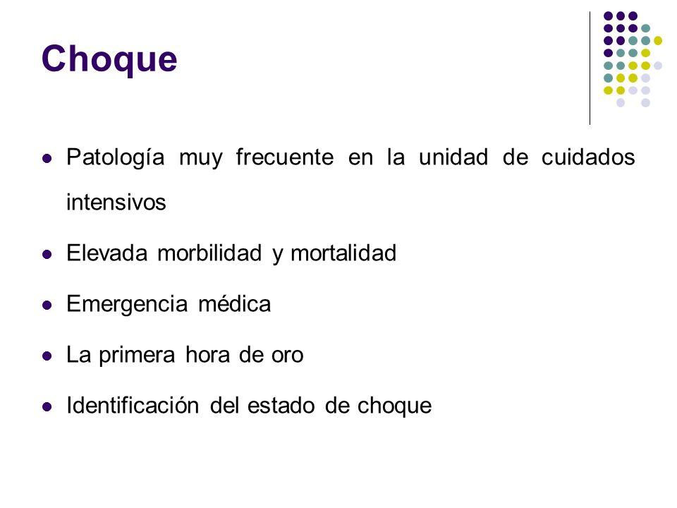 Choque Patología muy frecuente en la unidad de cuidados intensivos