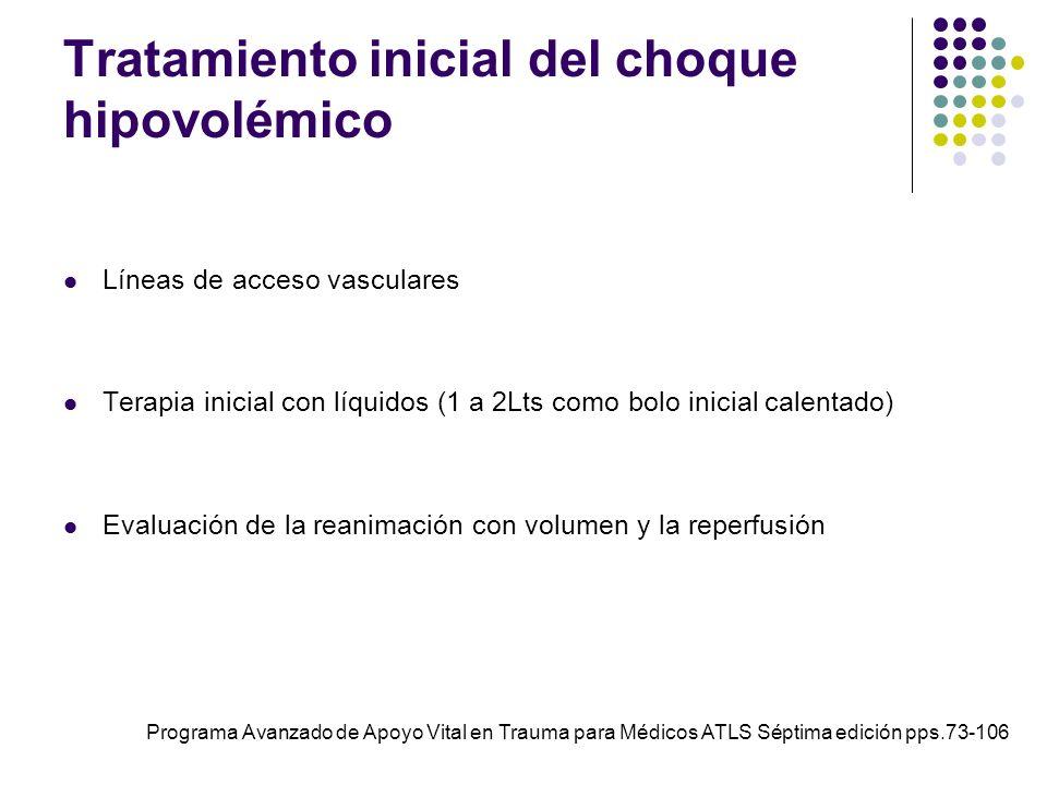 Tratamiento inicial del choque hipovolémico