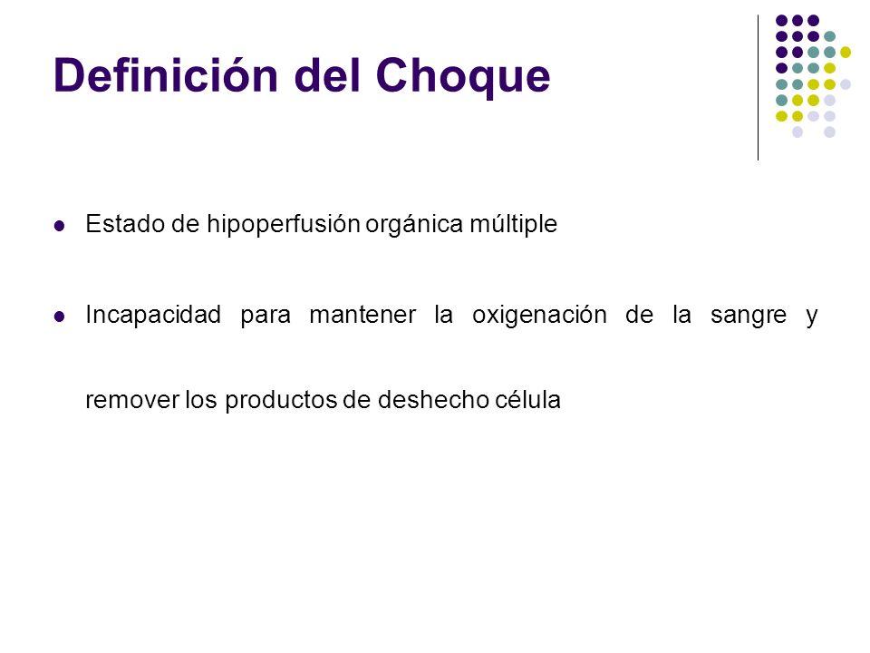 Definición del Choque Estado de hipoperfusión orgánica múltiple