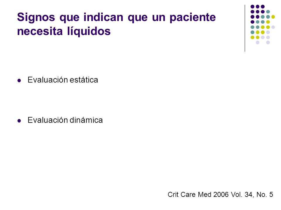 Signos que indican que un paciente necesita líquidos
