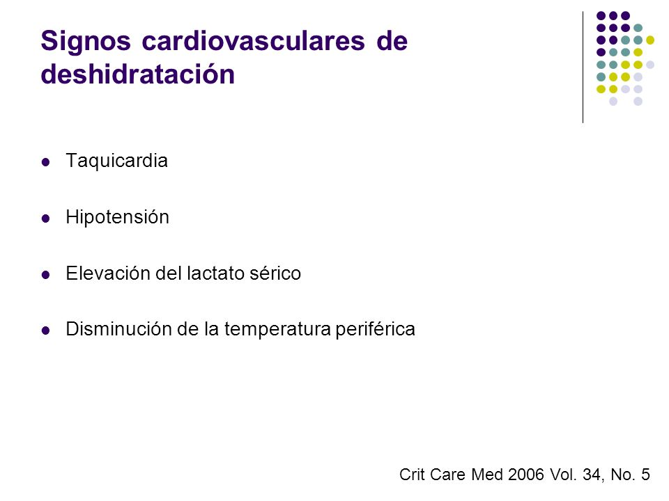 Signos cardiovasculares de deshidratación