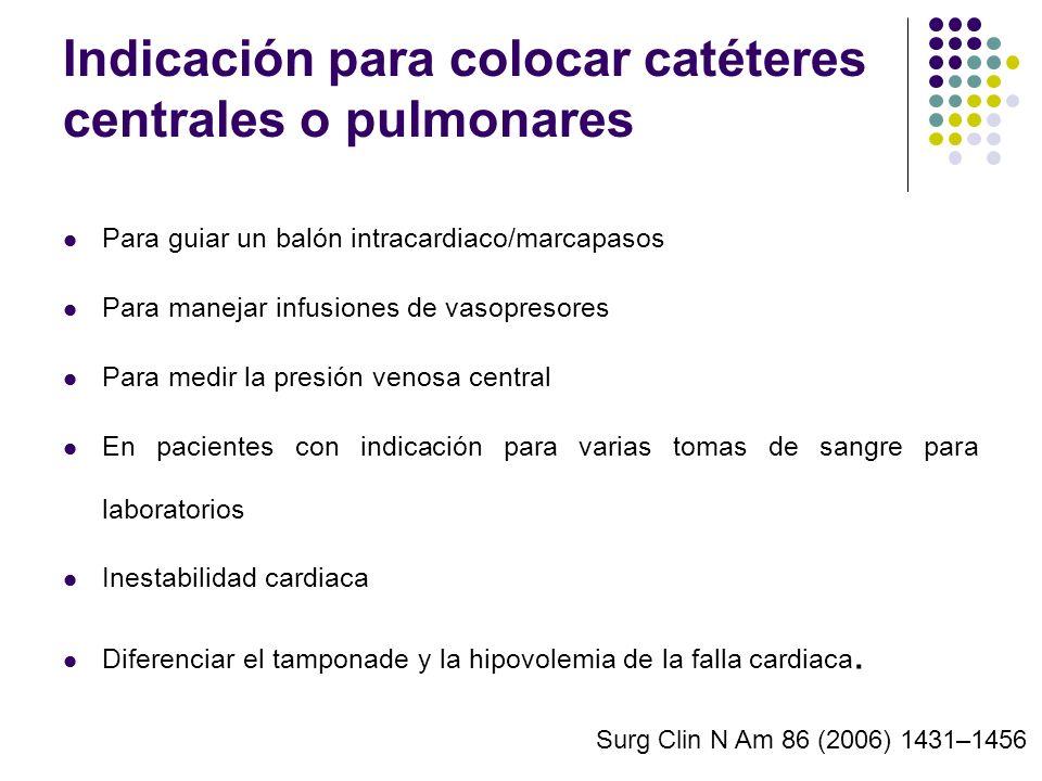 Indicación para colocar catéteres centrales o pulmonares