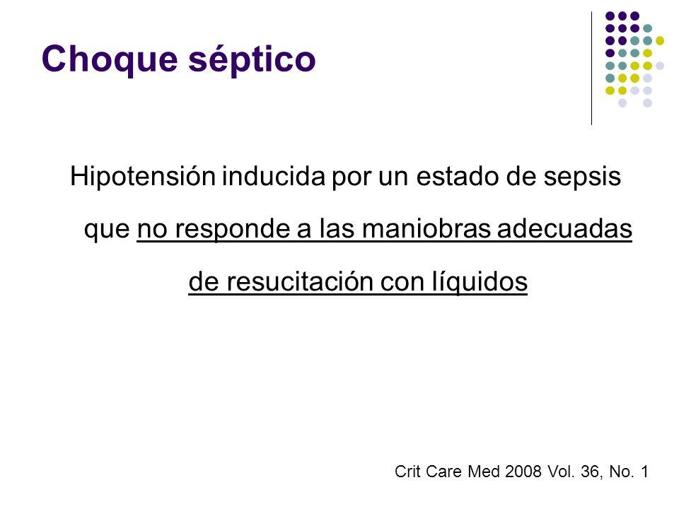 Choque séptico Hipotensión inducida por un estado de sepsis que no responde a las maniobras adecuadas de resucitación con líquidos.