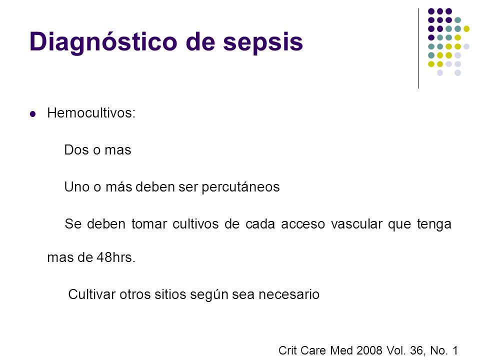 Diagnóstico de sepsis Hemocultivos: Dos o mas