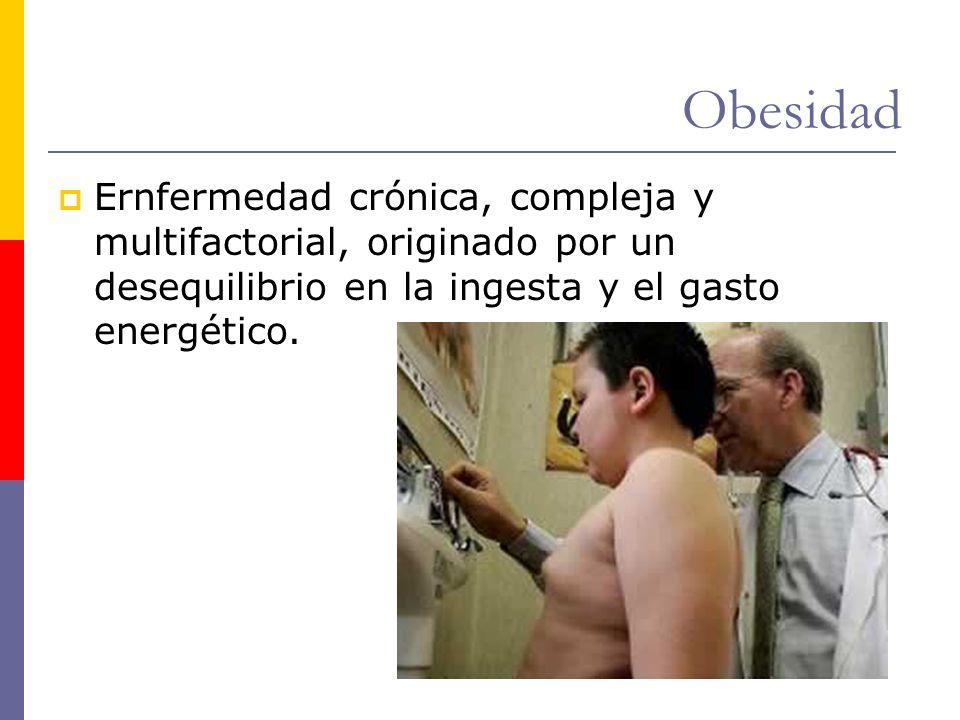 Obesidad Ernfermedad crónica, compleja y multifactorial, originado por un desequilibrio en la ingesta y el gasto energético.