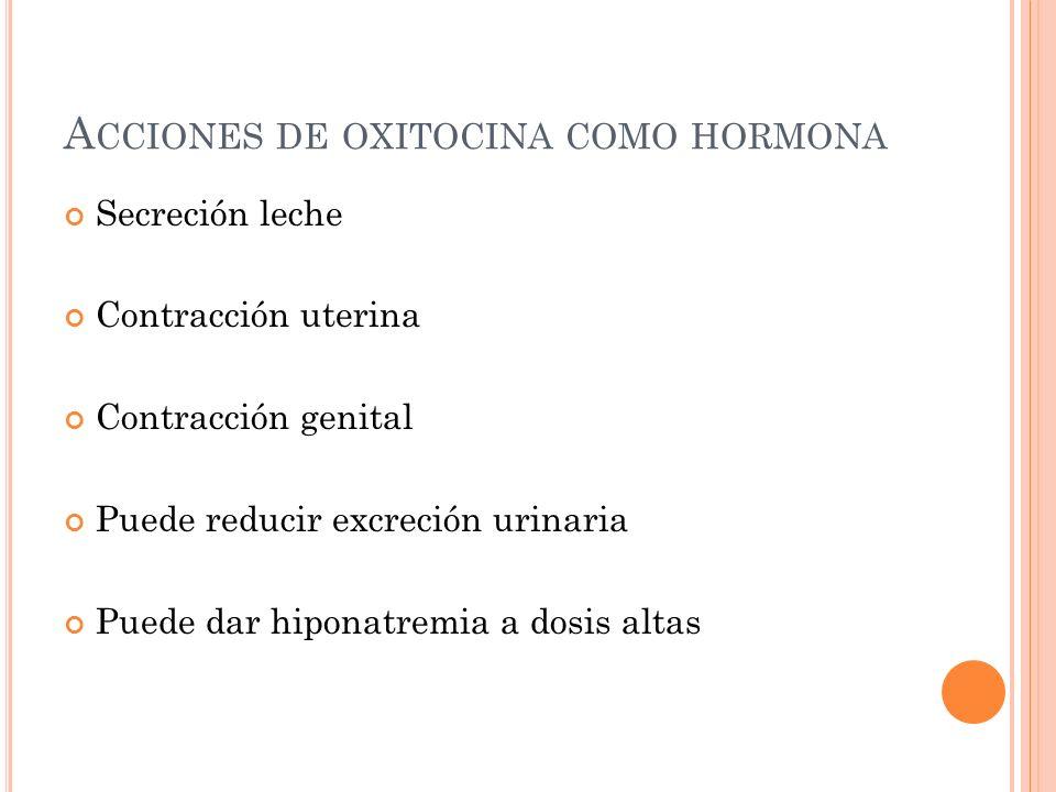 Acciones de oxitocina como hormona