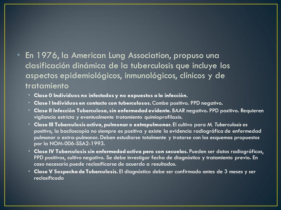 En 1976, la American Lung Association, propuso una clasificación dinámica de la tuberculosis que incluye los aspectos epidemiológicos, inmunológicos, clínicos y de tratamiento