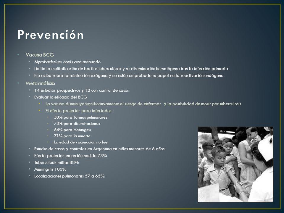 Prevención Vacuna BCG Metaanálisis: Mycobacterium bovis vivo atenuado