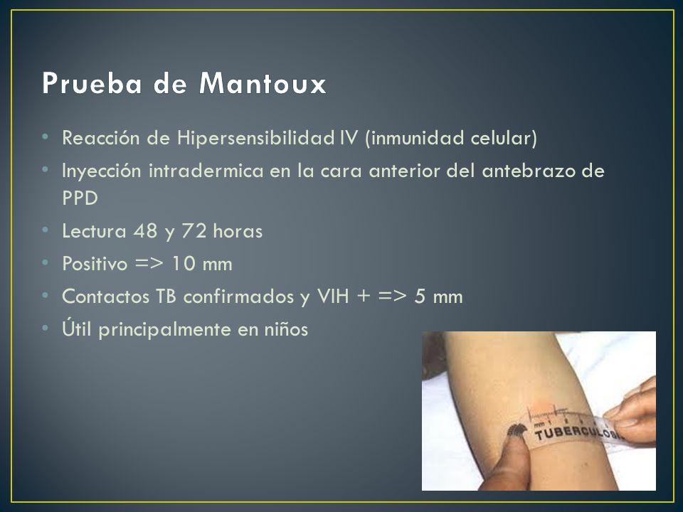Prueba de Mantoux Reacción de Hipersensibilidad IV (inmunidad celular)