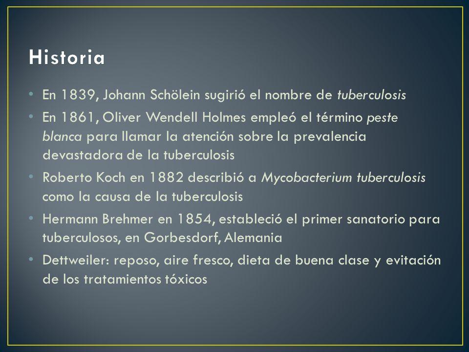 Historia En 1839, Johann Schölein sugirió el nombre de tuberculosis