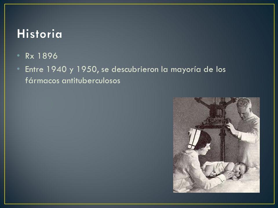 Historia Rx 1896 Entre 1940 y 1950, se descubrieron la mayoría de los fármacos antituberculosos