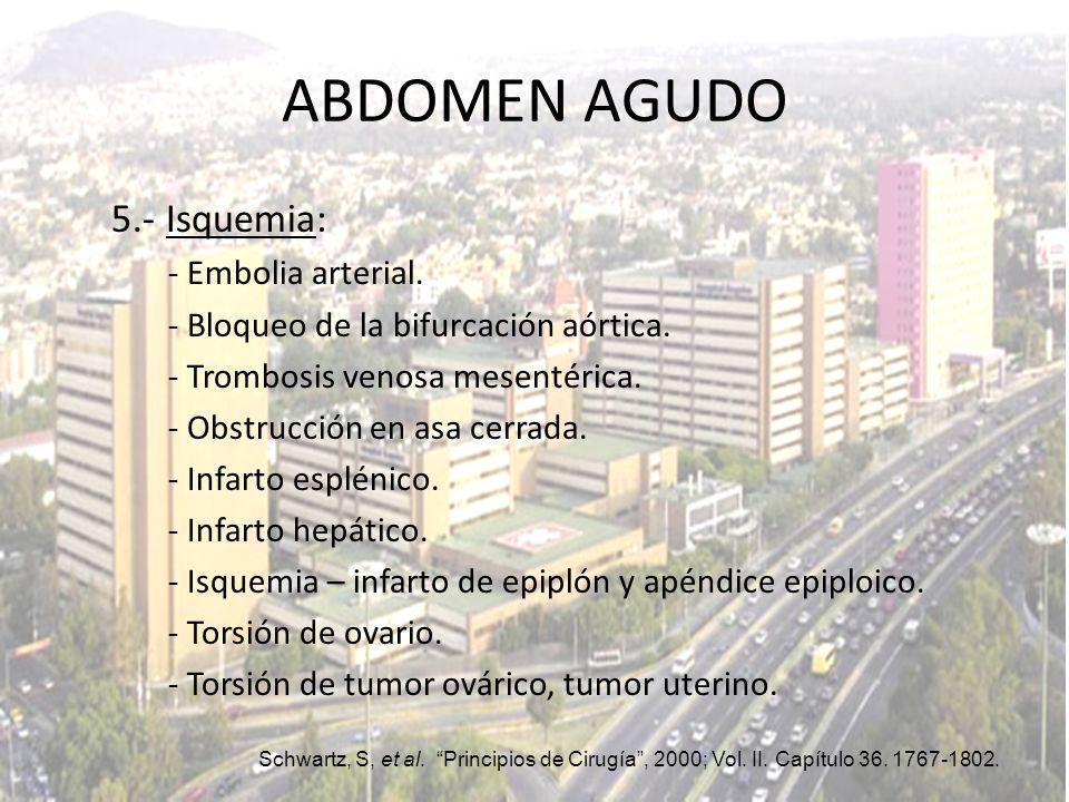 ABDOMEN AGUDO 5.- Isquemia: - Embolia arterial.