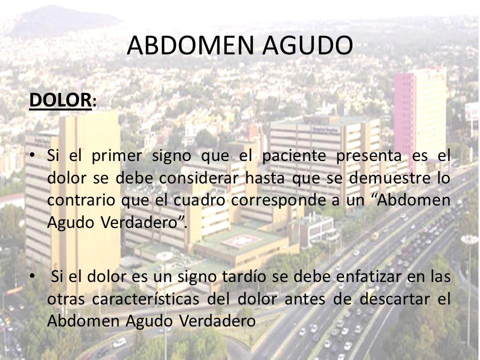 ABDOMEN AGUDO DOLOR: