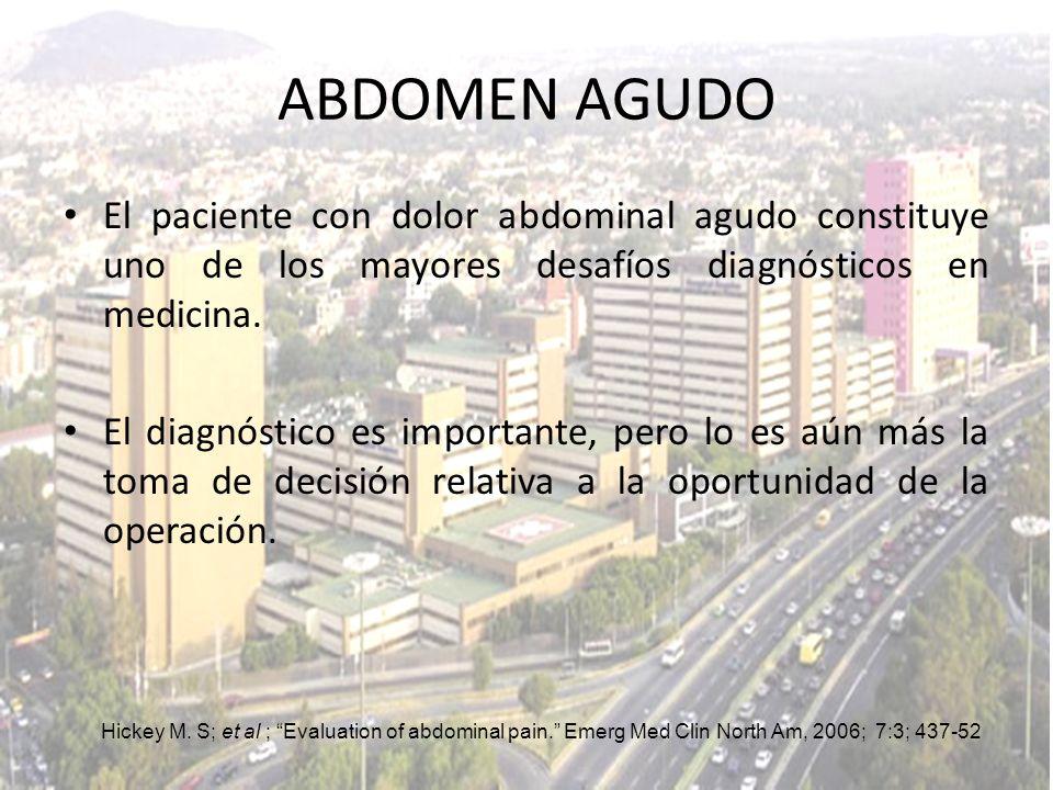 ABDOMEN AGUDO El paciente con dolor abdominal agudo constituye uno de los mayores desafíos diagnósticos en medicina.