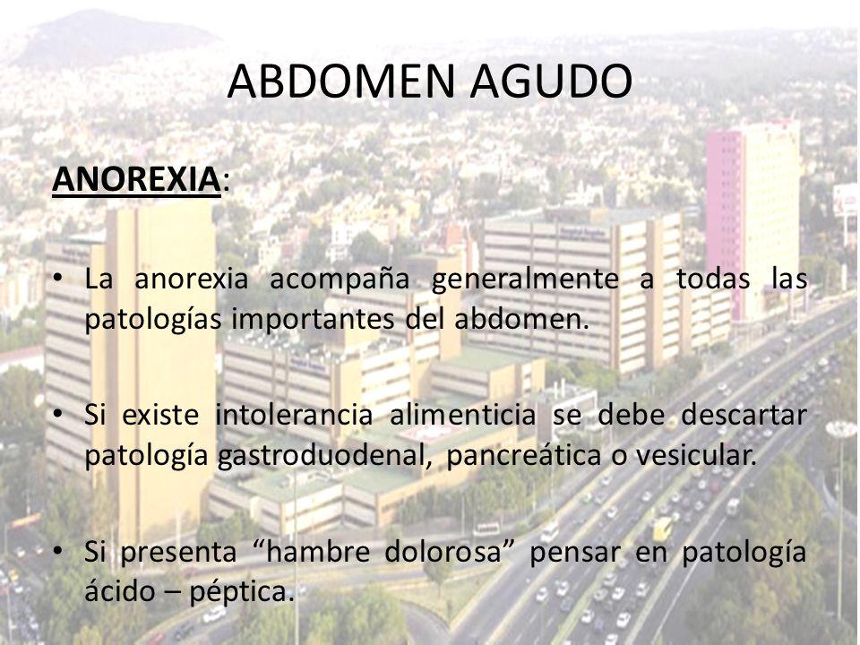 ABDOMEN AGUDO ANOREXIA: