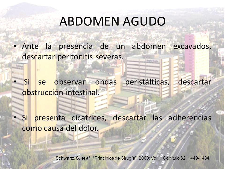 ABDOMEN AGUDO Ante la presencia de un abdomen excavados, descartar peritonitis severas.