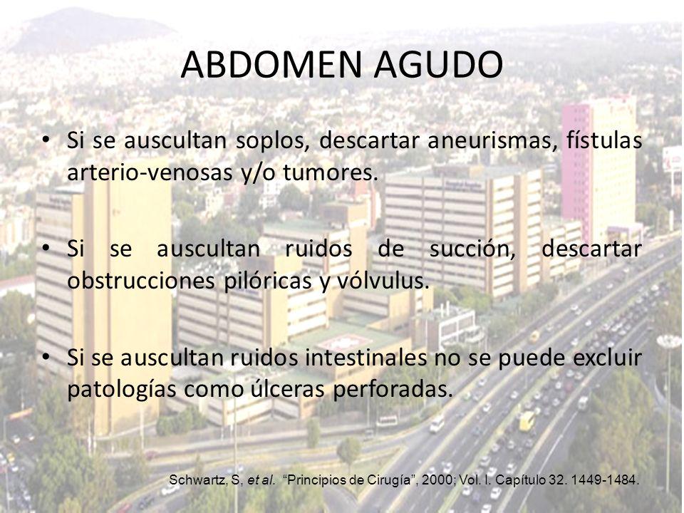 ABDOMEN AGUDO Si se auscultan soplos, descartar aneurismas, fístulas arterio-venosas y/o tumores.