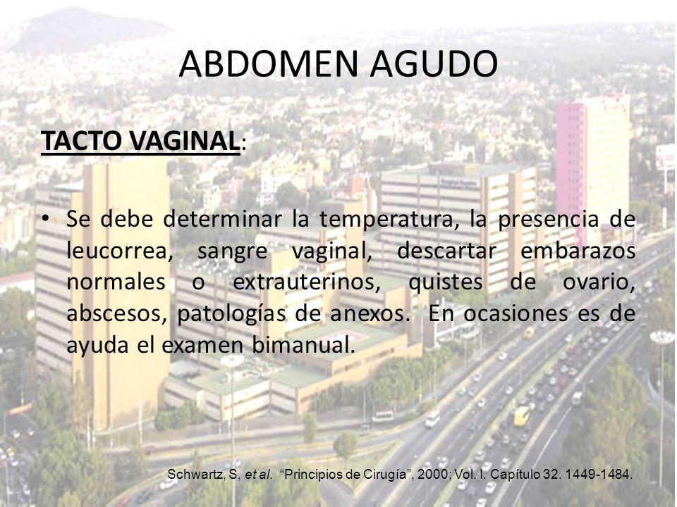 ABDOMEN AGUDO TACTO VAGINAL: