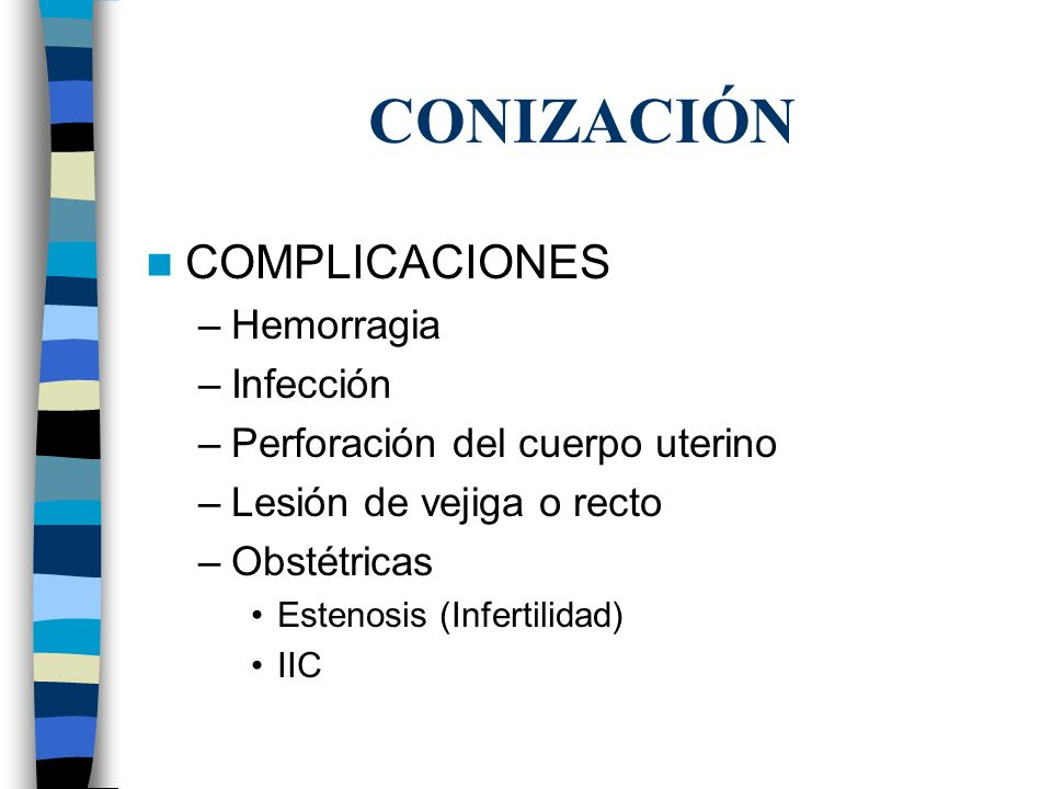 CONIZACIÓN COMPLICACIONES Hemorragia Infección