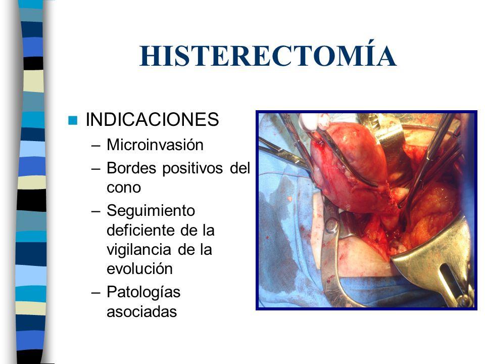 HISTERECTOMÍA INDICACIONES Microinvasión Bordes positivos del cono