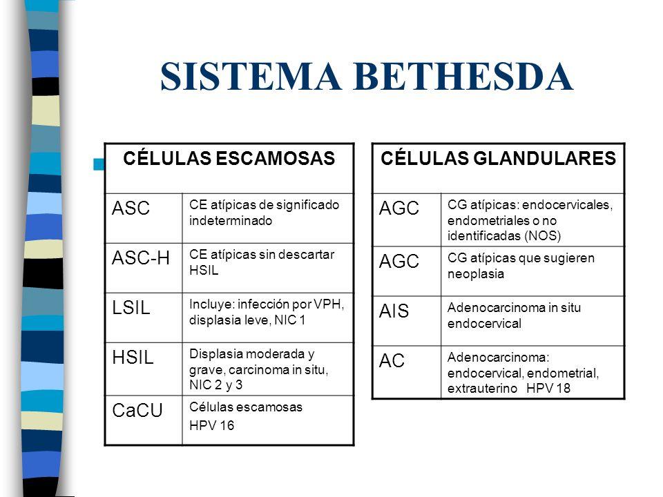 SISTEMA BETHESDA CÉLULAS ESCAMOSAS ASC ASC-H LSIL HSIL CaCU