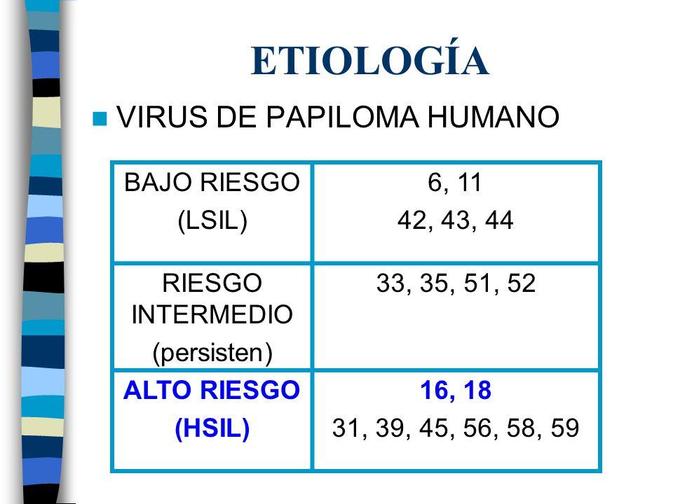 ETIOLOGÍA VIRUS DE PAPILOMA HUMANO BAJO RIESGO (LSIL) 6, 11 42, 43, 44