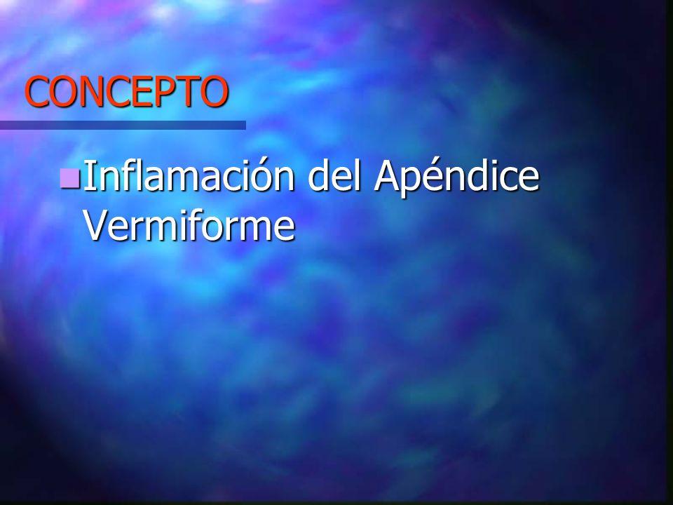CONCEPTO Inflamación del Apéndice Vermiforme