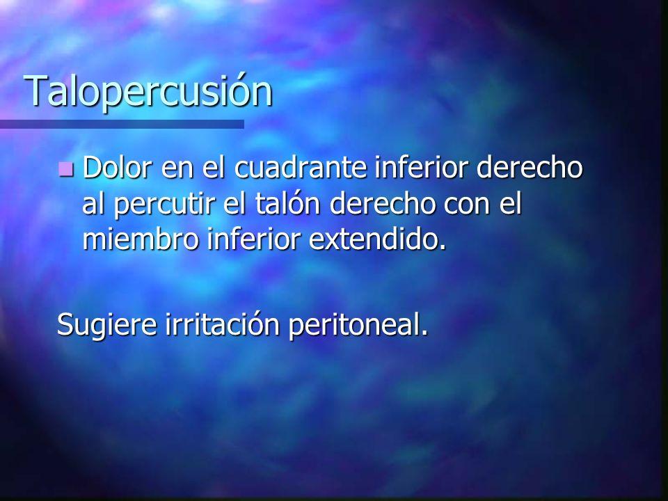 Talopercusión Dolor en el cuadrante inferior derecho al percutir el talón derecho con el miembro inferior extendido.