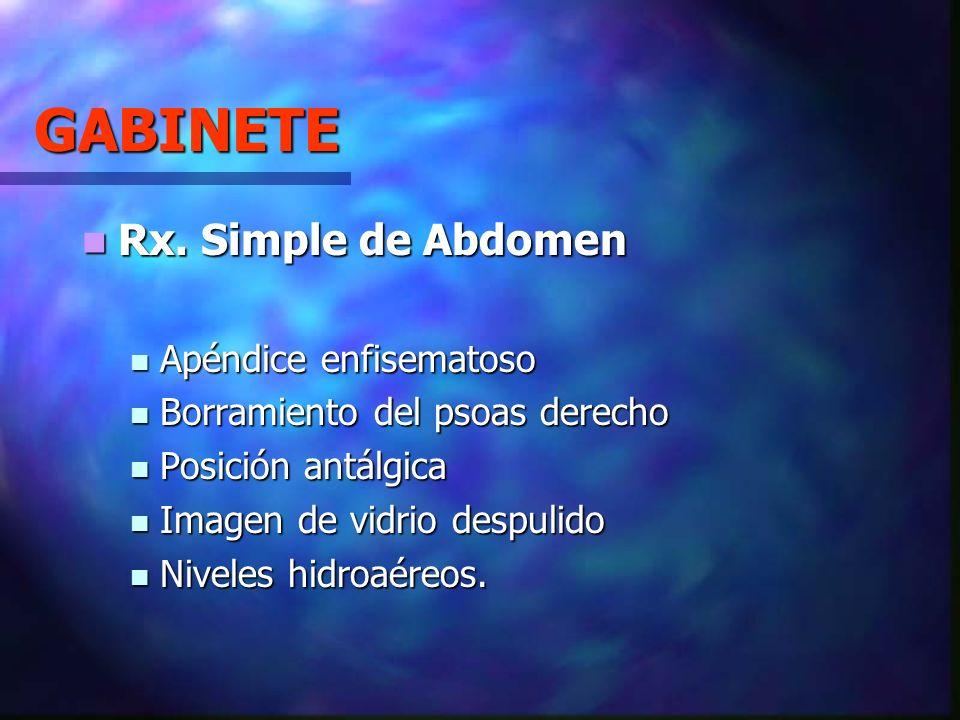 GABINETE Rx. Simple de Abdomen Apéndice enfisematoso