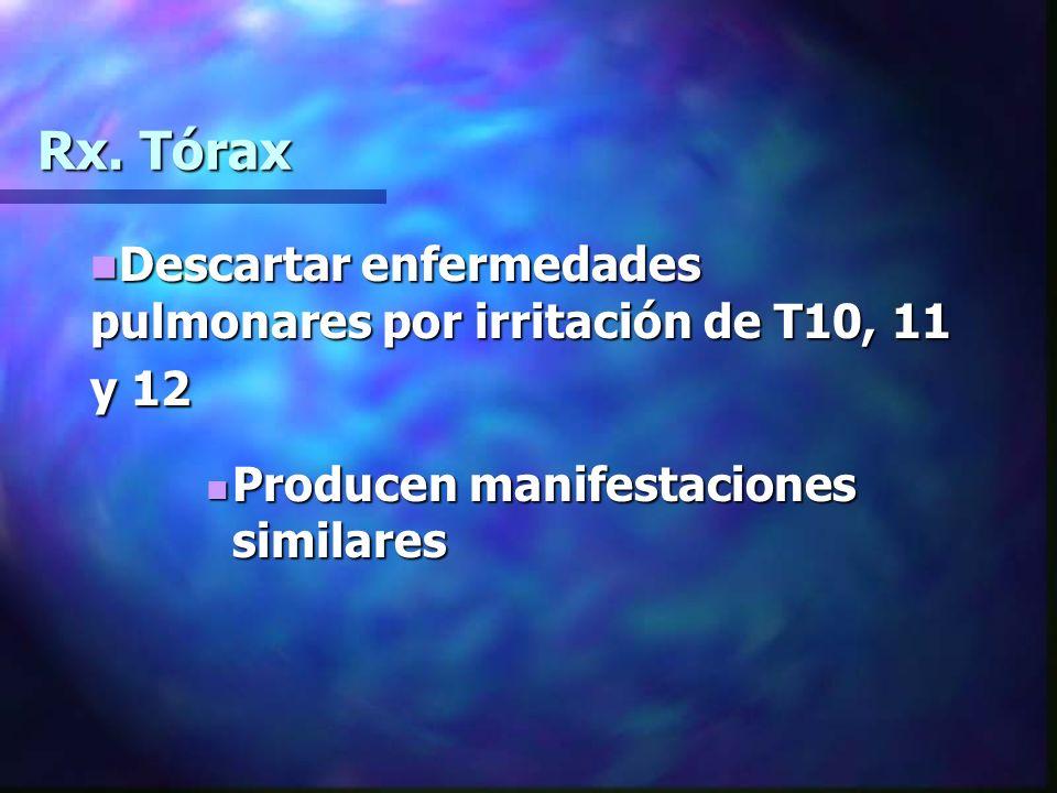 Rx. Tórax Descartar enfermedades pulmonares por irritación de T10, 11 y 12.