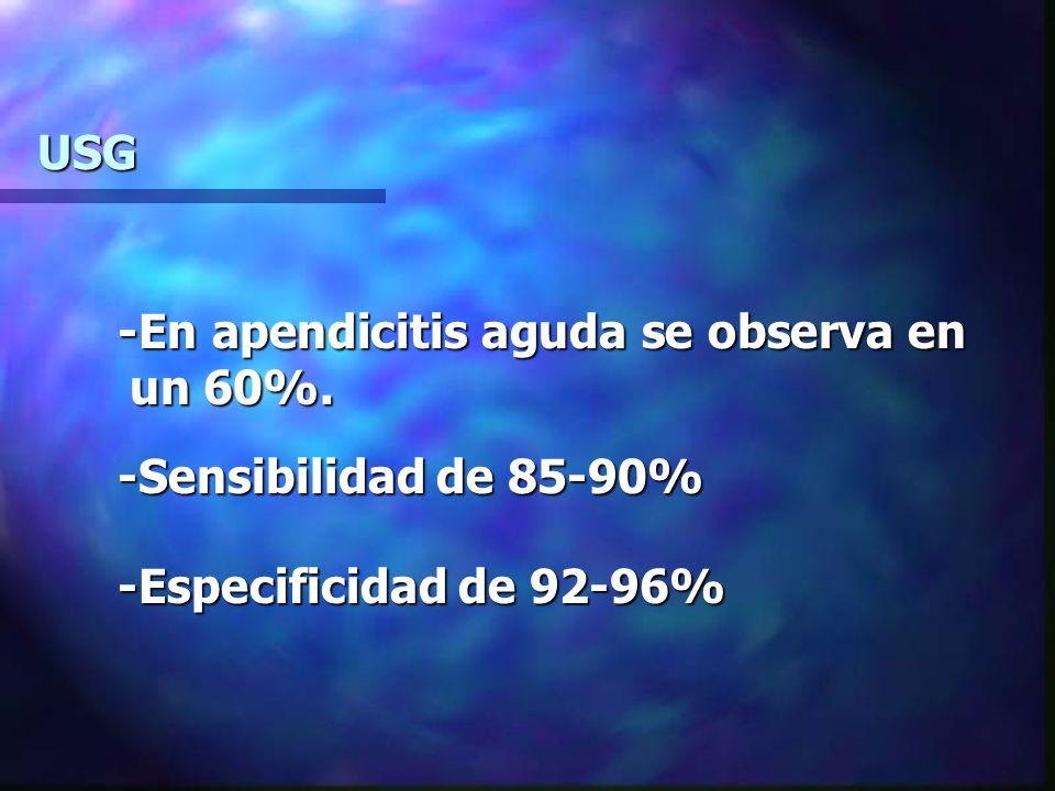 USG -En apendicitis aguda se observa en un 60%. -Sensibilidad de 85-90% -Especificidad de 92-96%