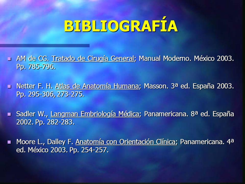 BIBLIOGRAFÍA AM de CG. Tratado de Cirugía General; Manual Moderno. México 2003. Pp. 785-796.