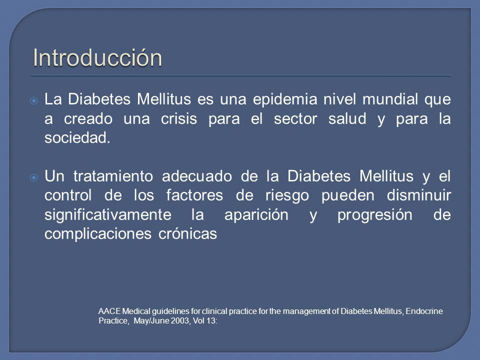 Introducción La Diabetes Mellitus es una epidemia nivel mundial que a creado una crisis para el sector salud y para la sociedad.