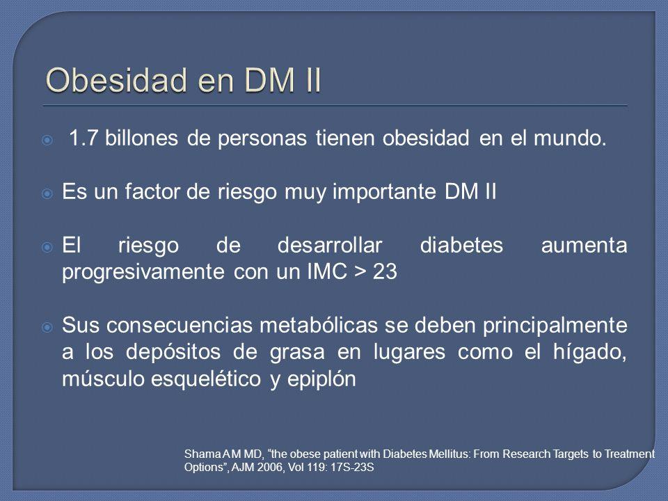 Obesidad en DM II 1.7 billones de personas tienen obesidad en el mundo. Es un factor de riesgo muy importante DM II.