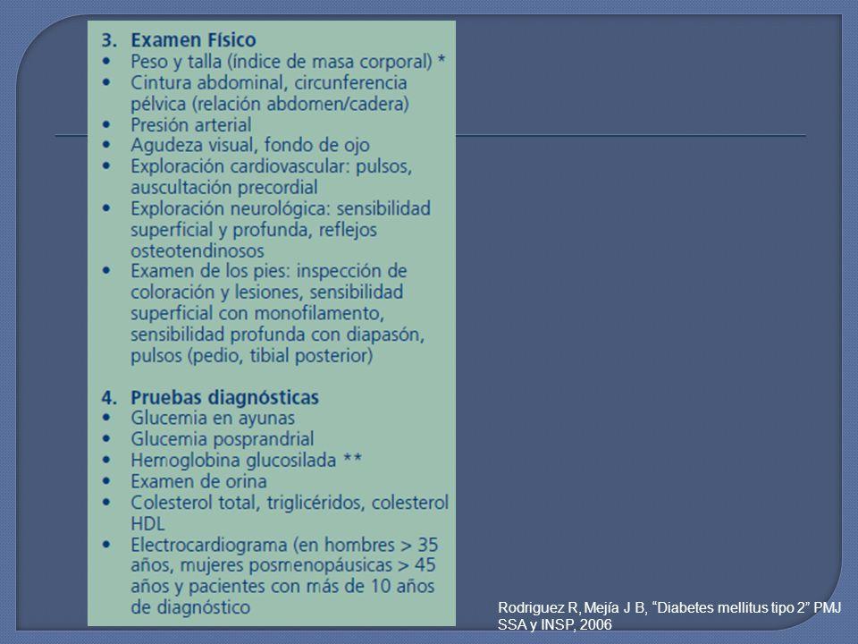 Rodriguez R, Mejía J B, Diabetes mellitus tipo 2 PMJ SSA y INSP, 2006