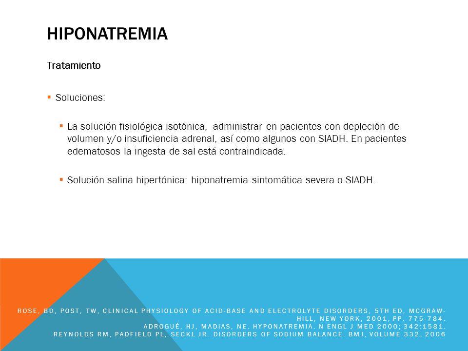 HIPONATREMIA Tratamiento Soluciones: