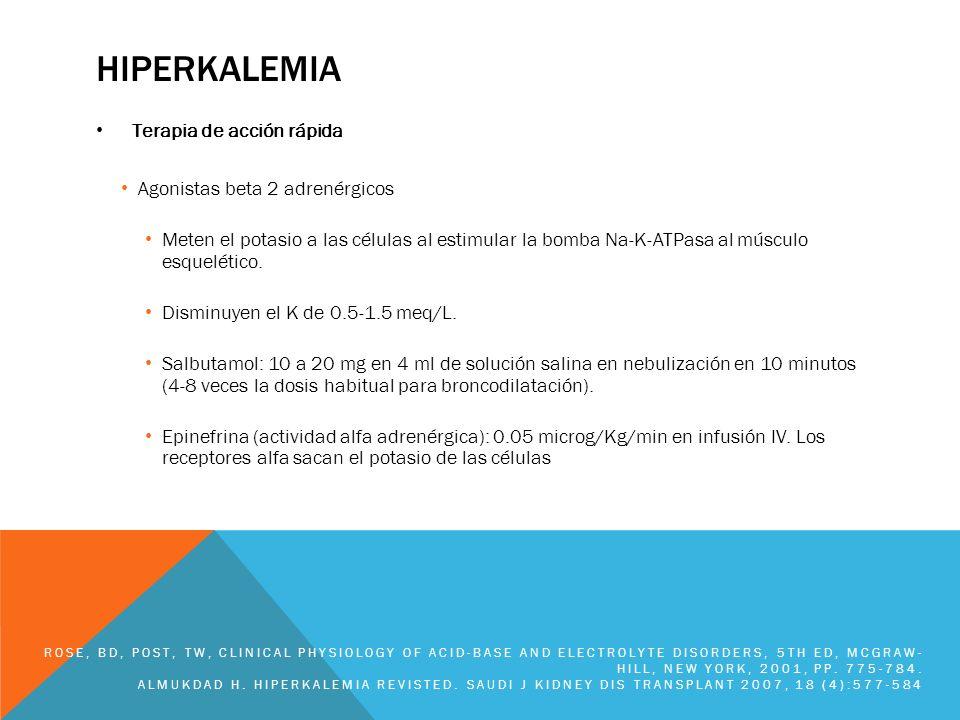 Hiperkalemia Terapia de acción rápida Agonistas beta 2 adrenérgicos