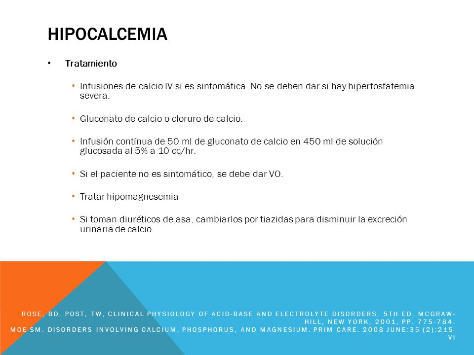 hipocalcemia Tratamiento