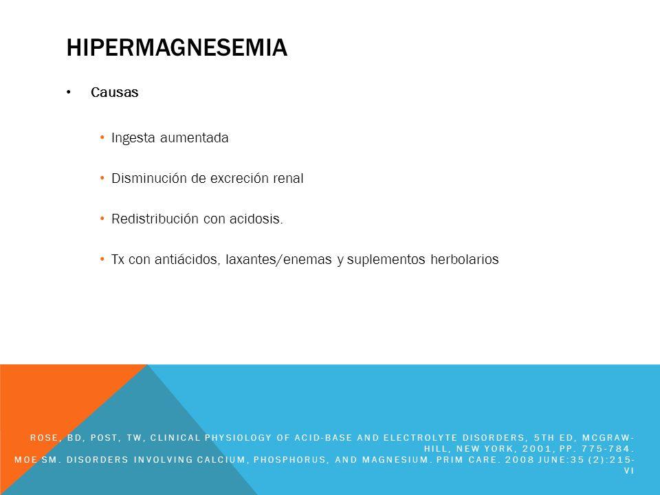 hipermagnesemia Causas Ingesta aumentada