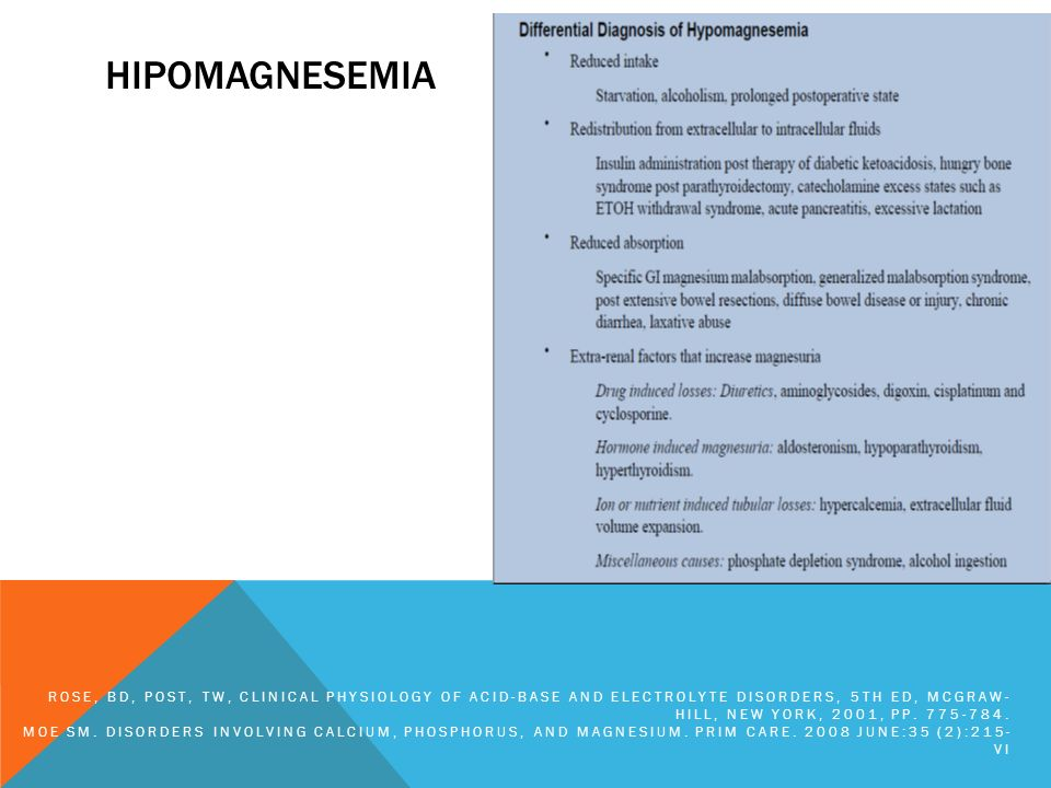 hipomagnesemiaRose, BD, Post, TW, Clinical Physiology of Acid-Base and Electrolyte Disorders, 5th ed, McGraw-Hill, New York, 2001, pp. 775-784.