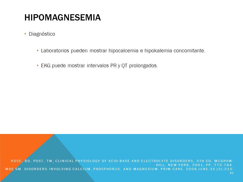 hipomagnesemia Diagnóstico