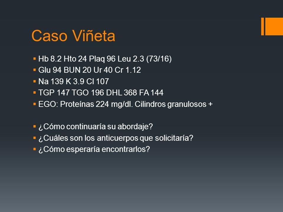 Caso Viñeta Hb 8.2 Hto 24 Plaq 96 Leu 2.3 (73/16)